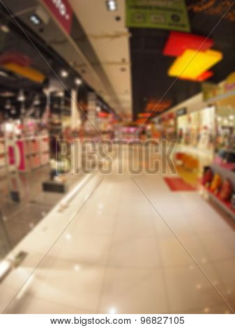 Defocused And Blurry Image Of The Interior Of A Mall