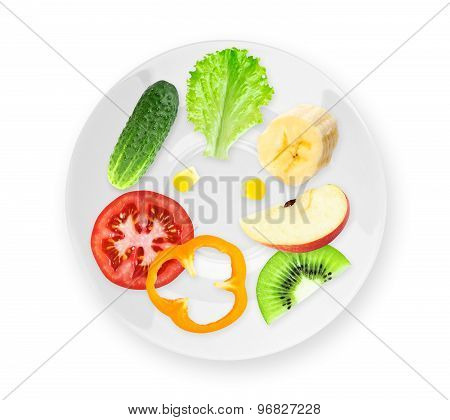Fruits And Vegetables On White Plate