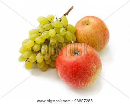 Ripe Red Apples And Grapes