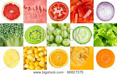 Collection With Color Fruits And Vegetables