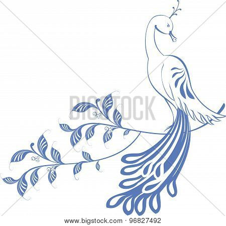 Pattern. Peacock sitting on a branch. EPS10 vector illustration