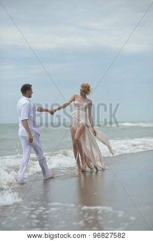 Lovely Wedding Couple On Beach