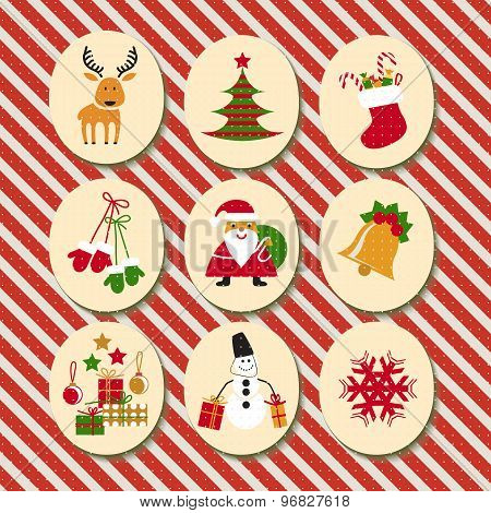 Christmas Set Santa Claus, Reindeer, Stockings, Gifts, Candles, Christmas Tree, Snowman, snowflake