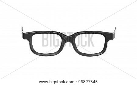 Black Nerd Glasses, Isolated On White