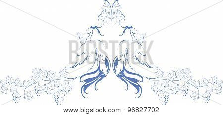 Pattern. Birds of Paradise with vine. EPS10 vector illustration