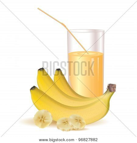 Bunch of three photo-realistic and glass of juice, ripe yellow, bananas and sliced bananas