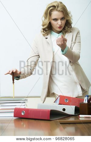 Agressive Woman Near Office Table