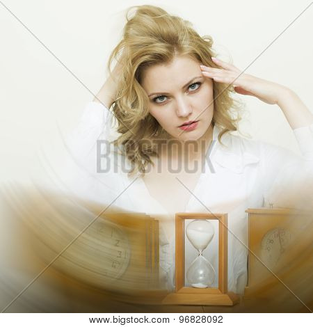 Waiting Woman With Sand Glass