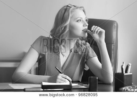 Beautiful Business Woman In Chair