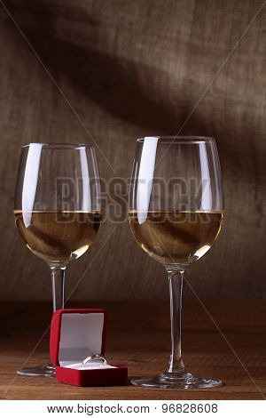 Glasses With Wine And Box With Ring