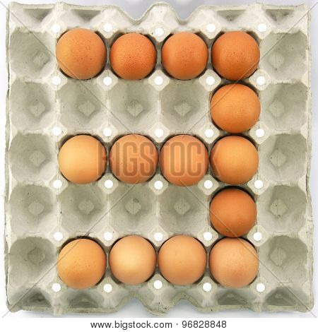 Number Three Of Eggs In The Paper Package Tray