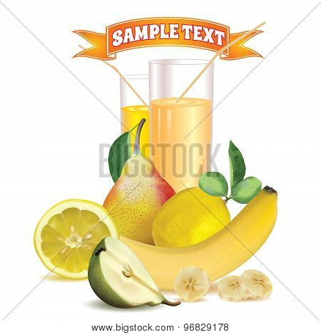 two glasses with juice and straw, lemon, banana and pear
