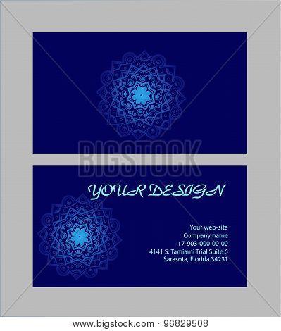 Set Of Business Cards With Dark-blue Background. Arabic Mandala, Vector Illustration.