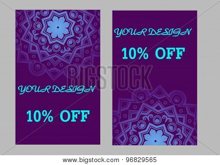 Set Of Business Cards With Violet Background. Arabic Mandala, Vector Illustration.