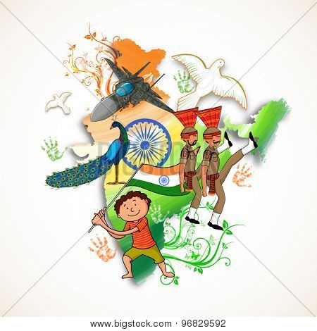 Creative Republic of India map in national flag colors, showing Indian strength, national bird Peacock, peace symbol Pigeon and cute boy for Independence Day celebration.