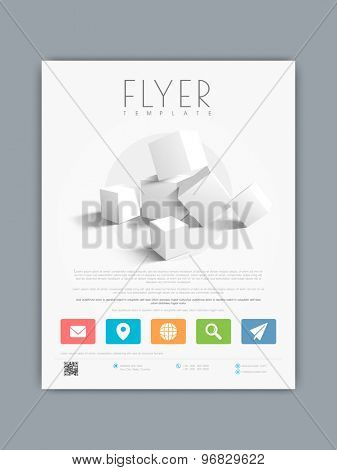 Professional business flyer, banner or template with 3D cubes and web icons.
