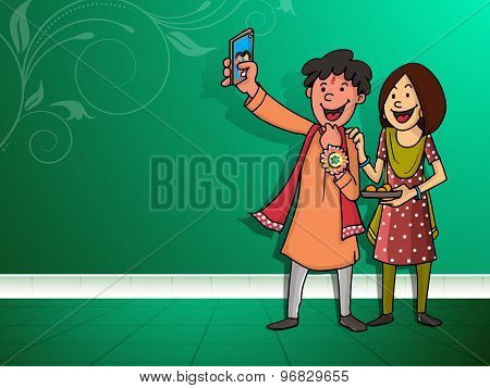 Happy brother and sister taking selfie after celebrating Raksha Bandhan festival on floral design decorated green background.