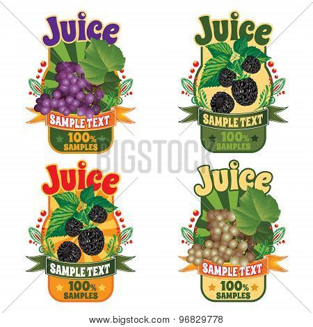 labels of juice from the fruit of grapes and berry blackberry
