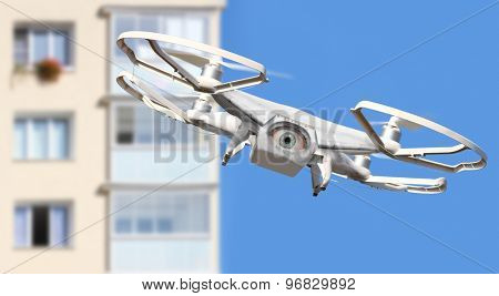 Spying eye over your city. Drone is new tool for aerial photo and video. Digital artwork fictional vehicles on UAV theme.