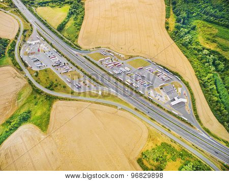 Aerial view of highway D5 gasoline station with parking nearby Pilsen, Czech republic, Central Europe. Transportation concept.