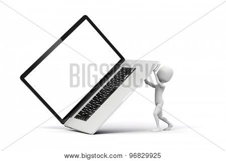 3d man holding a big laptop, business concept