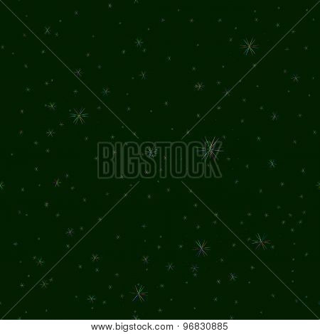 Green Night Sky Illustration.