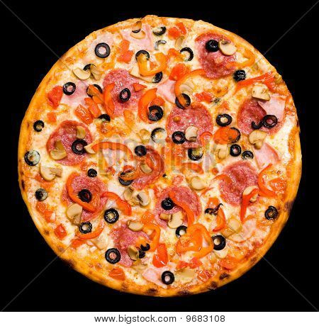 Pizza With Peperoni, Mushrooms And Ham, Isolated