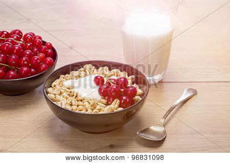 Breakfast Stilllife With Cereals, Fruits And Milk