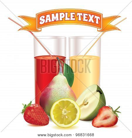 two glasses with juice and straw, lemon, pear with leaf and strawberry