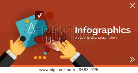 Infographic flat design banner with hands showing the product or data