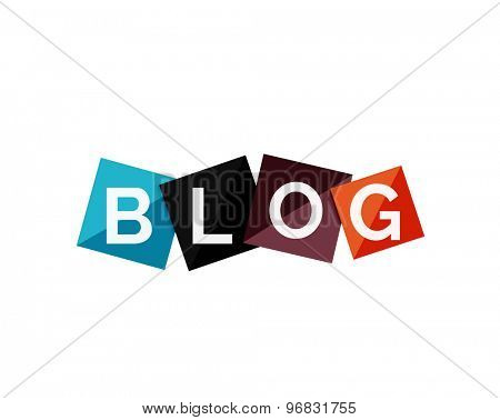 Word blog concept on color geometric shapes. Banner, web button. Web illustration or message for online web site, presentation or application