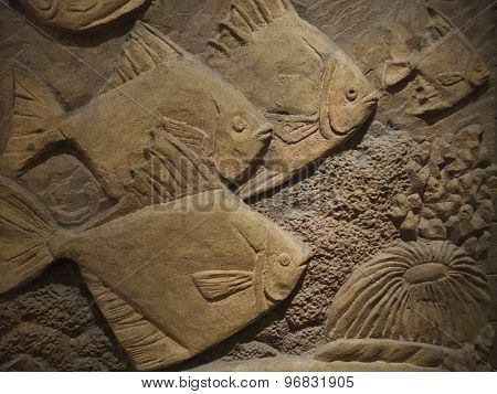 Stone sculpture on wall
