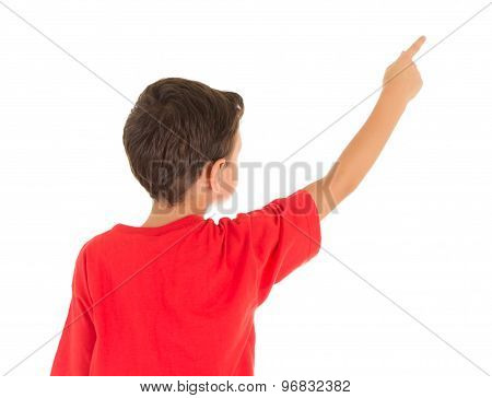 Back view of a young boy pointing his finger