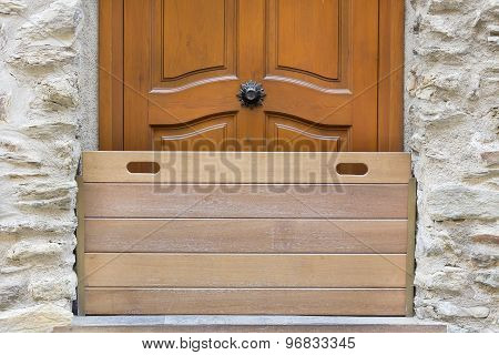 Wooden barrier door