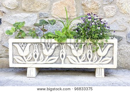 White long flowerpot