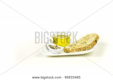 Toast, oil and spices
