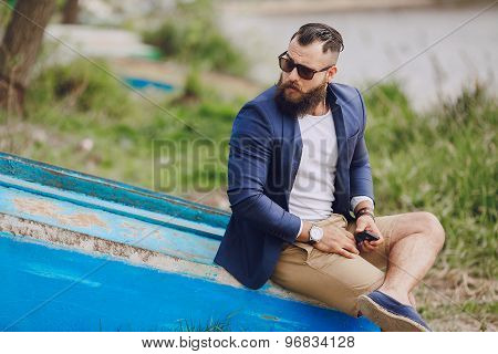 bearded man on the boat