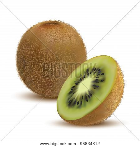 closeup kiwi and kiwi slices
