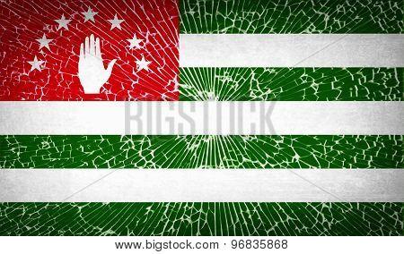 Flags Abkhazia With Broken Glass Texture. Vector