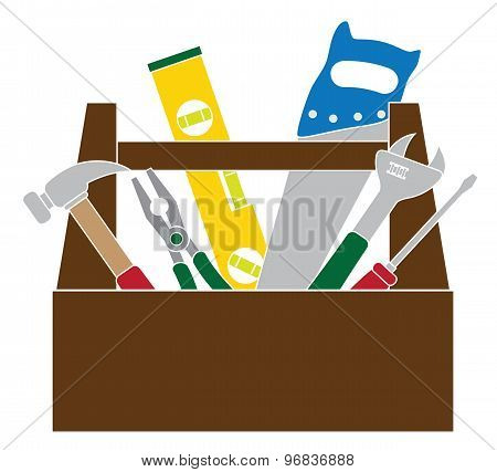 Toolbox With Construction Tools Color Vector Illustration