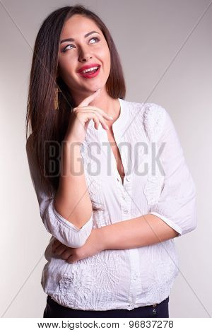 Pretty office woman in white shirt