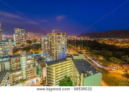 Night view nature and cityscape concept: evening outdoor urban view of modern real estate city in Honoluu, Hawaii.