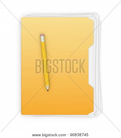 Yellow Folder And Pencil
