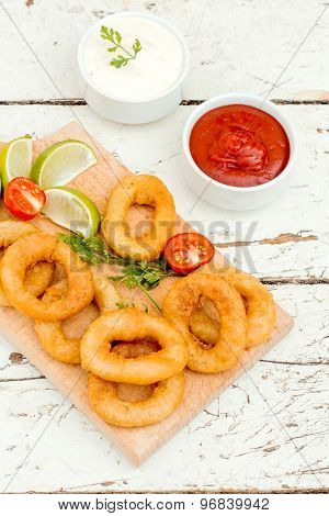 Fried Squid Rings And Sauces