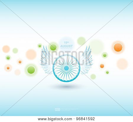 Indian Independence Day background with Ashoka wheel. Abstract colorful background. 15th August, India Independence Day celebrations concept national flag color theme. Independence Day celebrations