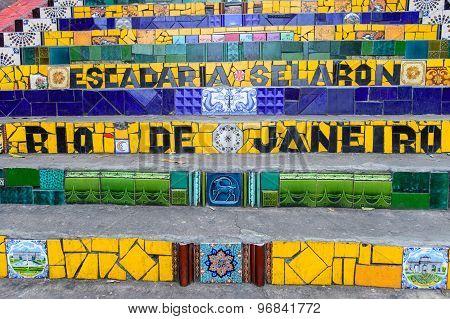 Escadaria Selaron Famous Steps In Rio De Janeiro, Brazil Artist Jorge Selaron
