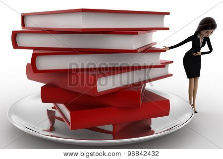 3D Woman With Many Books On Dish Concept