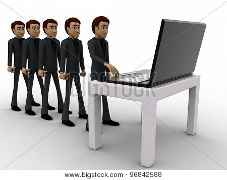 3D Man In Queue And Working On Laptop Concept