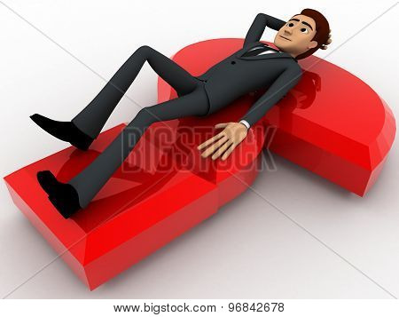 3D Man Lying On Red Question Mark Concept