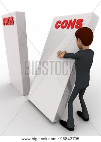 3D Man With Prons And Cons Sign Board Concept